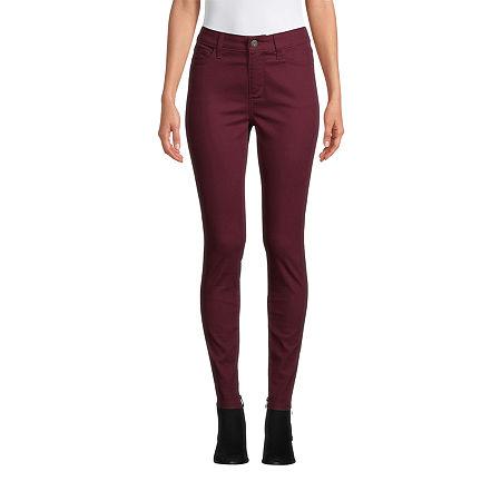 St. John's Bay Womens Mid Rise Skinny Fit Jean, 2 Petite , Red