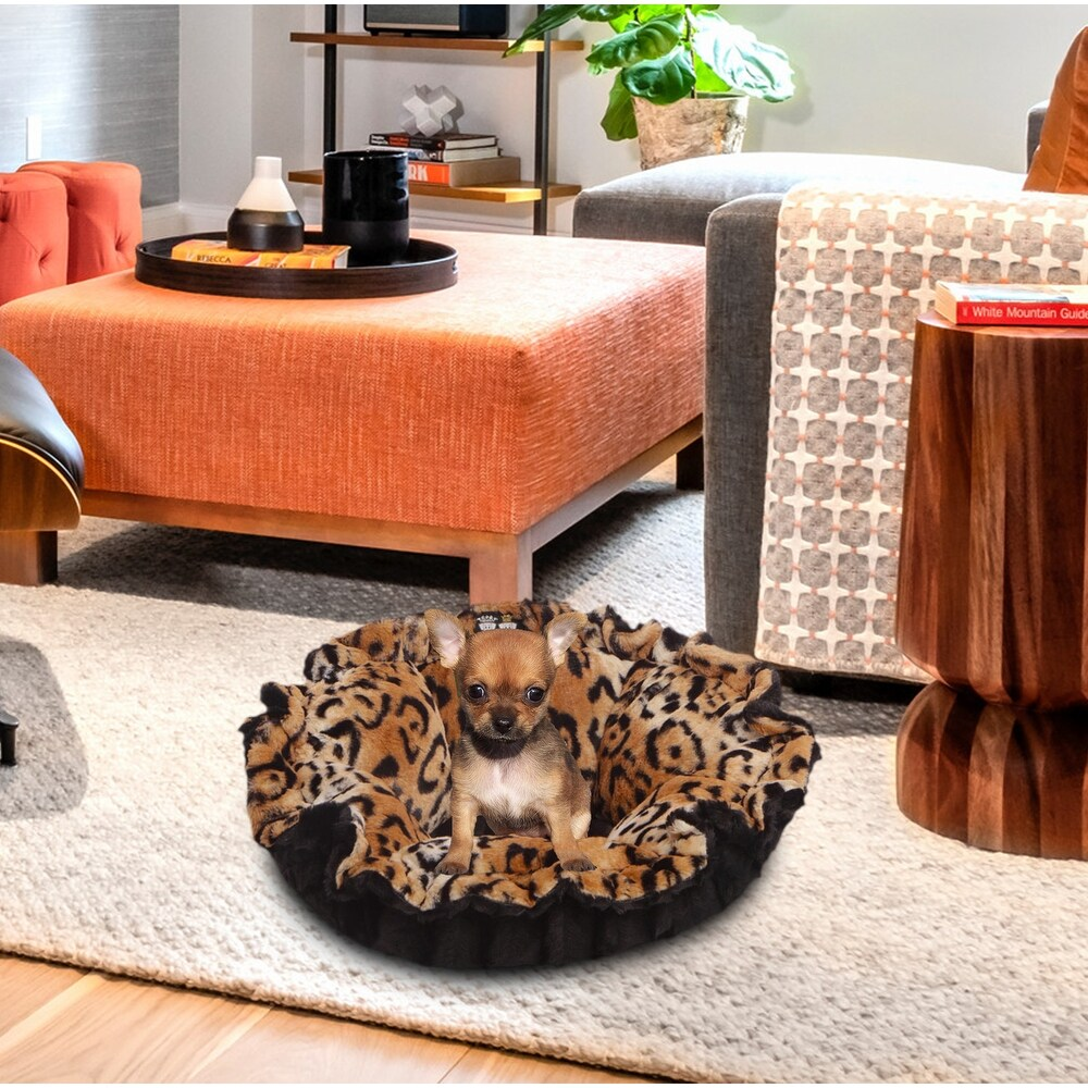 Bessie and Barnie Ultra Plush Black Puma/ Chepard Luxury Deluxe Dog / Pet Cuddle Pod Bed - 30