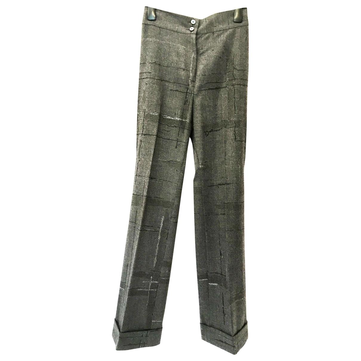 Salvatore Ferragamo \N Grey Wool Trousers for Women 44 IT