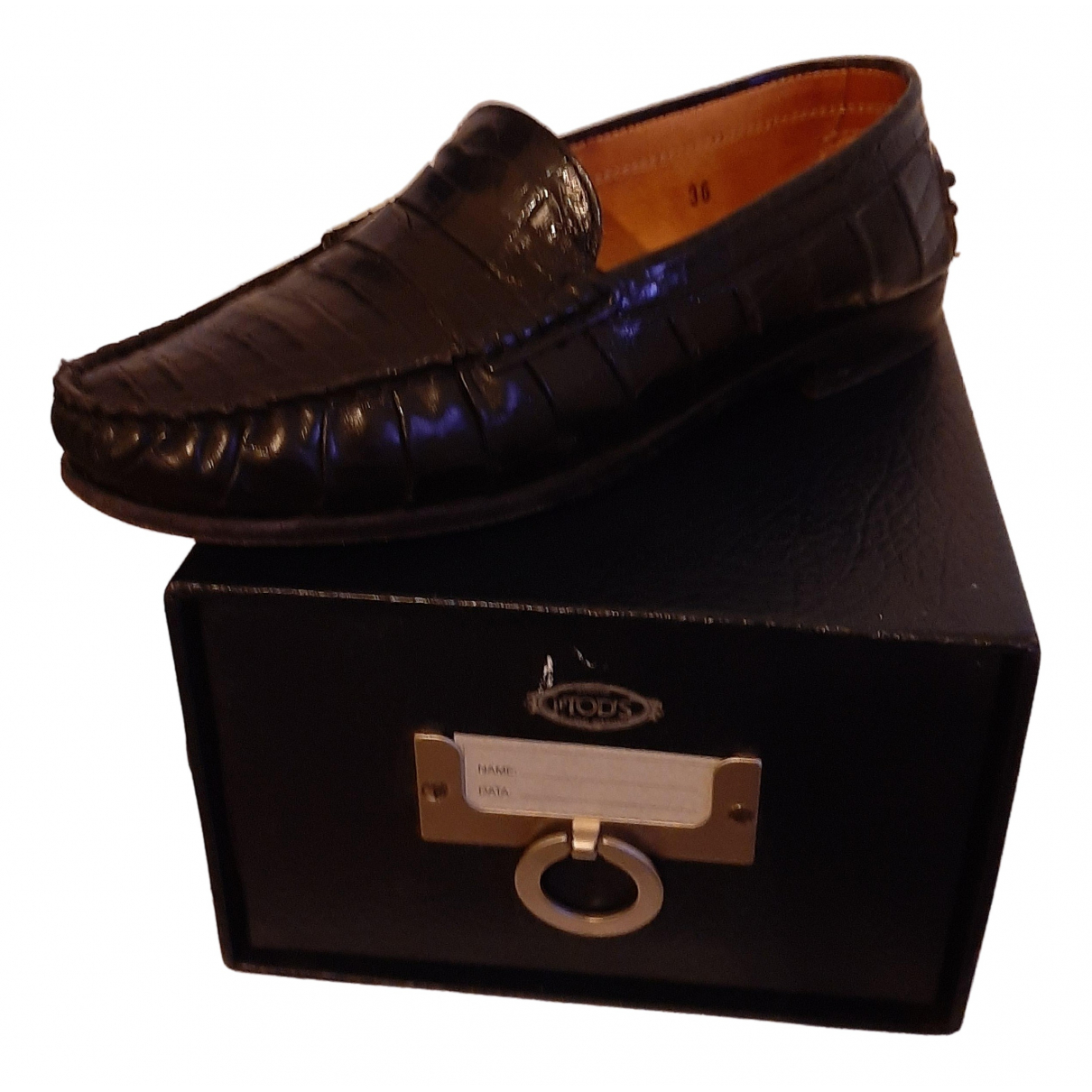 Tod's \N Black Leather Flats for Women 36 EU