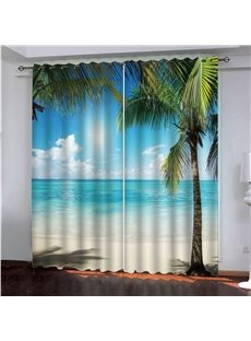 3D Sunny Day Seaside Beach and Coconut Palm Printed Decorative Custom Scenery Curtains