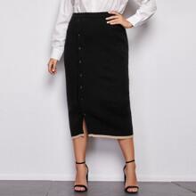 Faldas de Punto de talla grande Boton delantero Monocolor Elegante