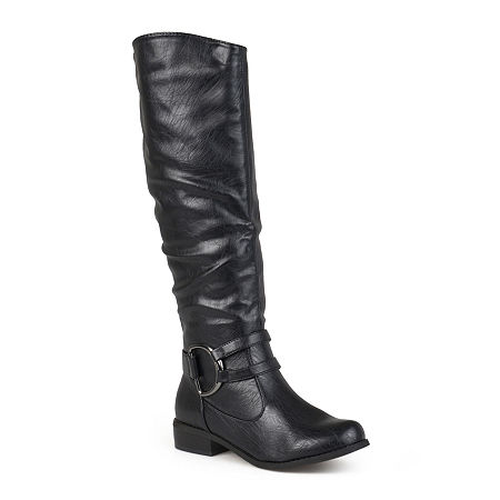 Journee Collection Charming Knee-High Riding Boots - Wide Calf, 7 Medium, Black