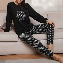 Polka Dot Cartoon Graphic Pajama Set