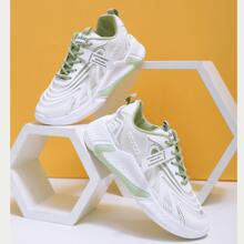 Letter Graphic Mesh Panel Chunky Sneakers