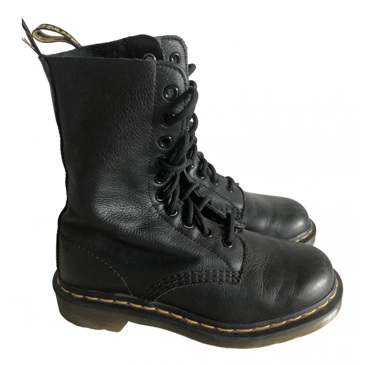 Dr. Martens 1490 (10 eye) Black Leather Boots for Women 3 UK
