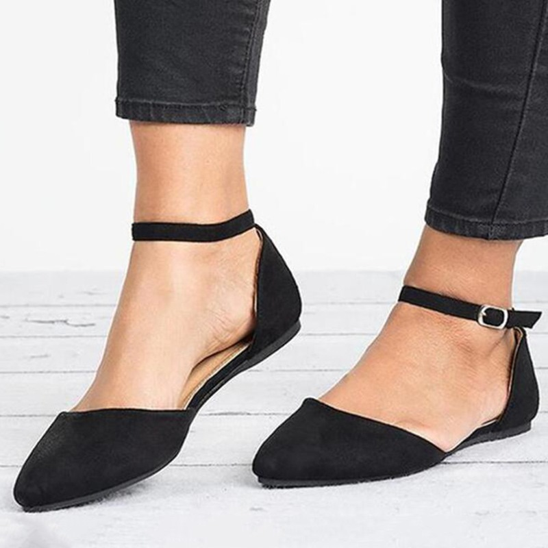 Ericdress Pointed Toe Flat With Buckle Low-Cut Upper Thin Shoes