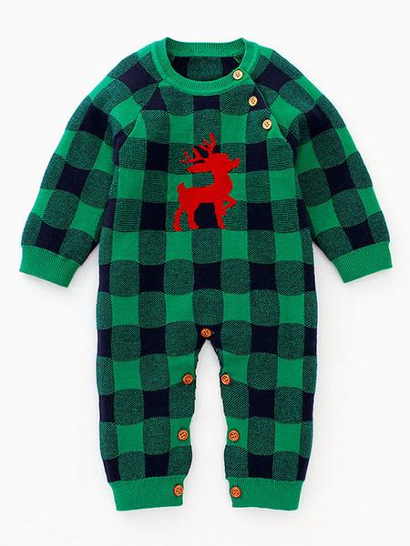 Milanoo Onesie Pajamas Kigurumi Christmas Pattern Checkered Kid Winter Sleepwear Mascot Animal Halloween Costume