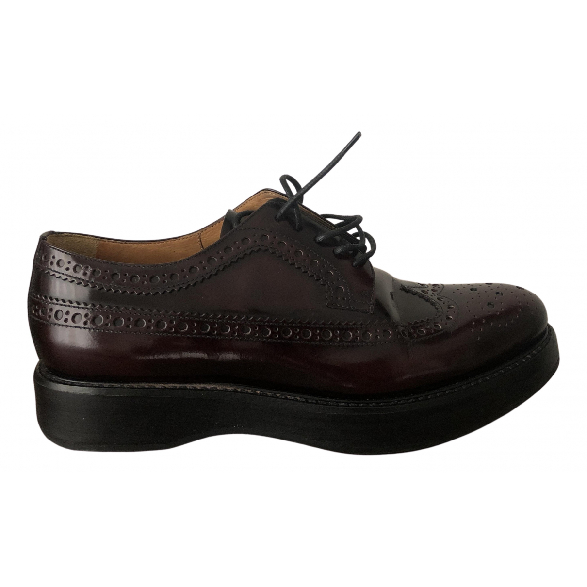 Church's N Burgundy Patent leather Lace ups for Women 36 EU