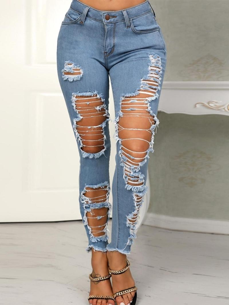 Ericdress Pencil Pants Plain Hole Slim Zipper Jeans
