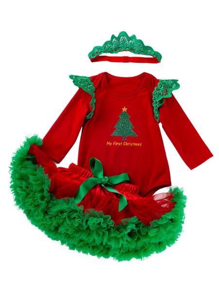 Milanoo Toddler Christmas Set Layered Ruffle Tutu Skirt Cotton Christmas Holidays Costumes