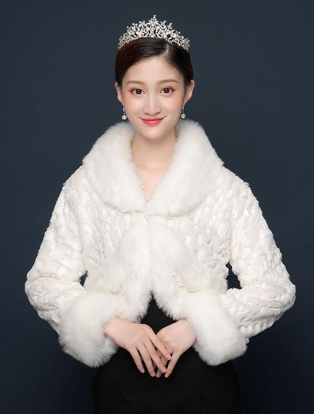 Milanoo Abrigo nupcial del invierno de la manga larga del abrigo de piel sintetica de la chaqueta de la boda sube