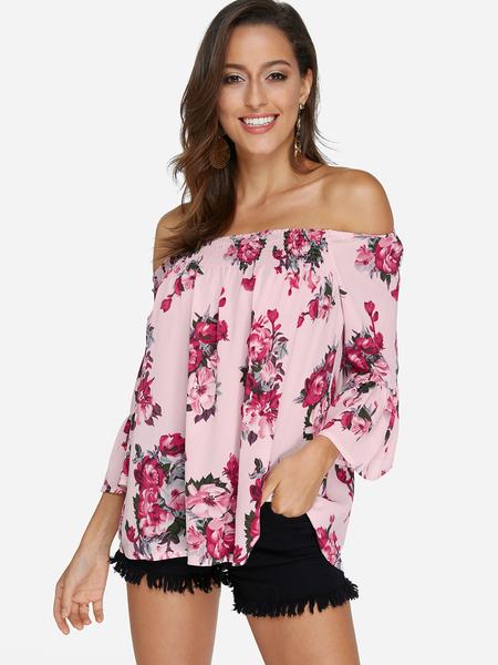 Yoins Pink Random Floral Print Off The Shoulder Long Sleeves Blouse