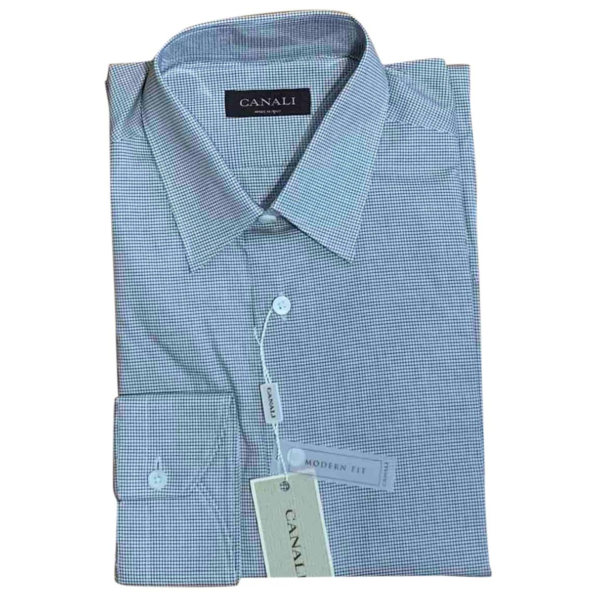 Canali N White Cotton Shirts for Men 40 EU (tour de cou / collar)