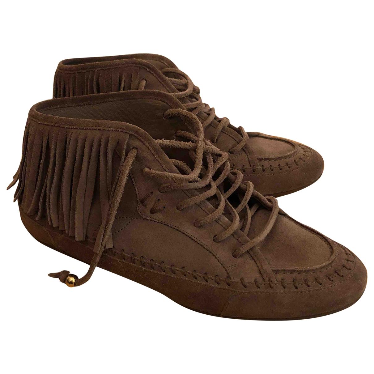 Louis Vuitton \N Stiefeletten in  Braun Leder