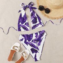 Bikini Badeanzug mit tropischem Muster, Neckholder und hoher Taille