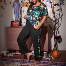 Plus Halloween Print Short Sleeve PJ Set