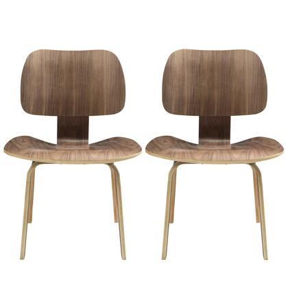Fathom Collection EEI-870-WAL Set of 2 Dining Side Chairs with Mid-Century Modern Style  Tapered Legs  Five Layered Construction and Plywood Oak