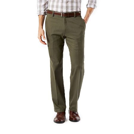 Dockers Men's Straight Fit Easy Khaki with Stretch Pants D2, 32 34, Green