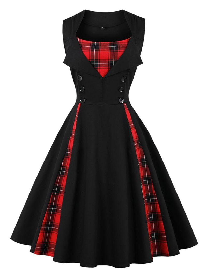 Ericdress Button Sleeveless Mid-Calf Plaid A-Line Dress