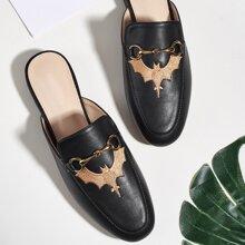 Halloween Loafer Pantoffeln mit Fledermaus Stickereien