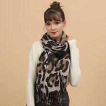 Schal mit Fransen und Leopard Muster