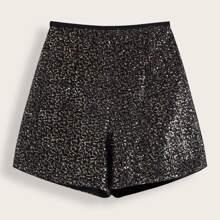 Schwarz Reissverschluss  Einfarbig Glamouros Shorts