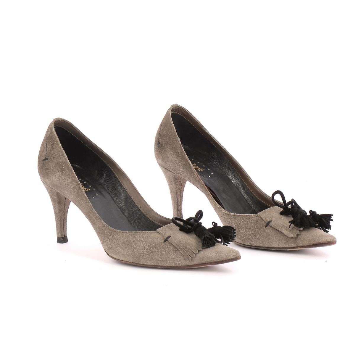 Chloé \N Grey Suede Heels for Women 36 EU