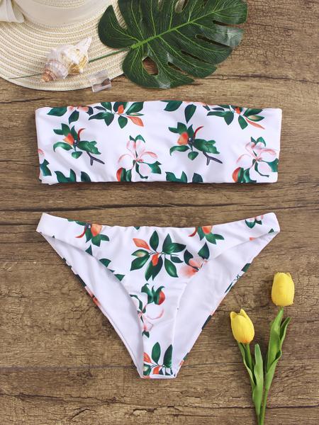 Yoins Sexy Floral Print Strapless Bandeau Bikini