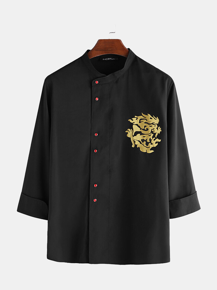 Mens Chinese Style Irregular Button Line Dragon Graphic Print Long Sleeve Shirts