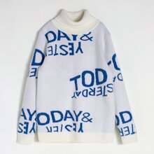 Boys Letter Graphic Turtleneck Sweater