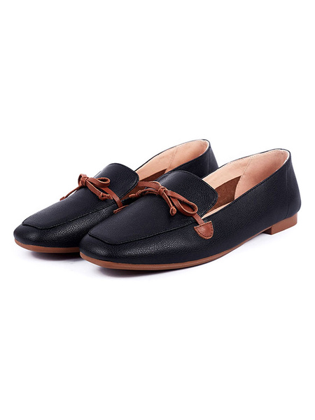 Milanoo Women\s Square Toe Comfy Loafers Flat Heel Daily Casual Shoes
