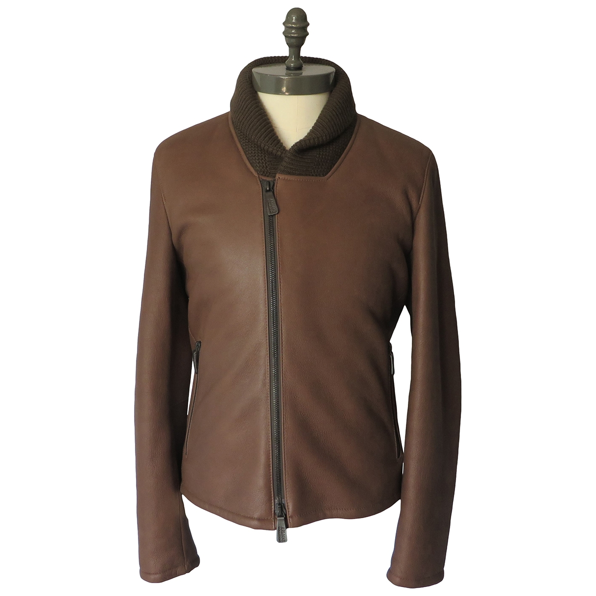 Armani Collezioni \N Brown Leather jacket  for Men 50 IT