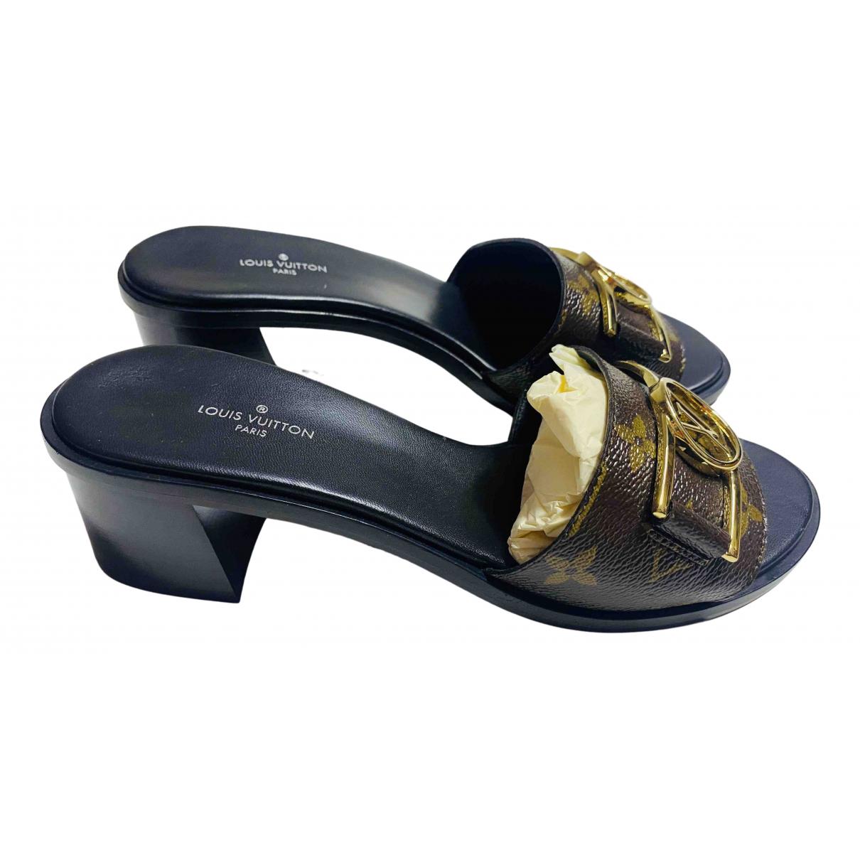 Louis Vuitton - Sandales   pour femme en cuir - noir