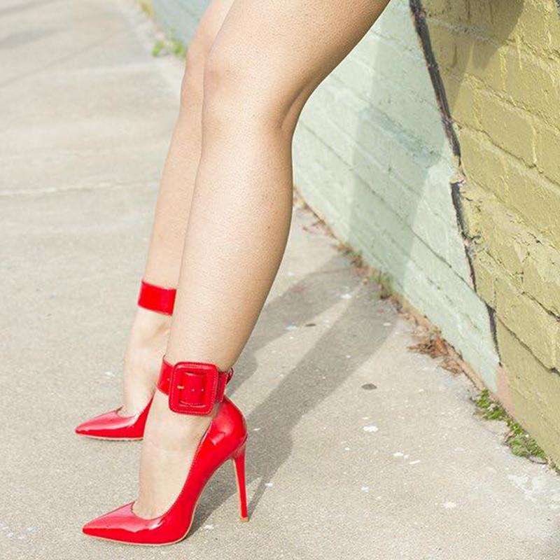 Ericdress Red Buckle Plain Stiletto Heel Pumps