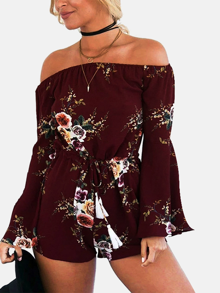 Yoins Burgundy Fashion Off Shoulder Flare Sleeves Drawstring Random Floral Print Chiffon Playsuit