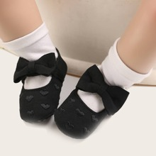 Baby Girl Heart Embroidered Bow Decor Flats