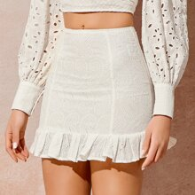 Embroidered Paisley Flounce Mini Skirt