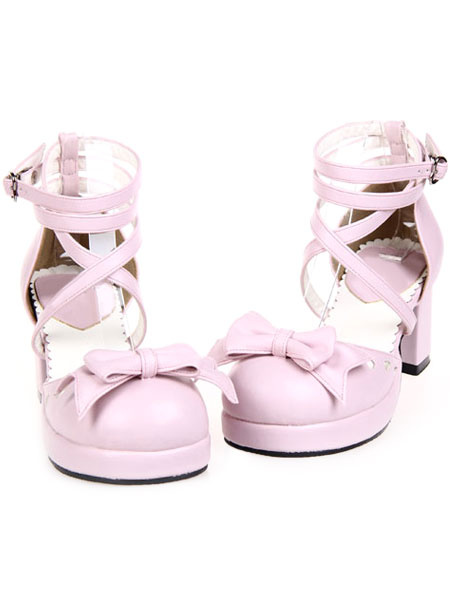 Milanoo Sweet Chunky Heels Lolita Shoes Ankle Straps Heart Shape Buckles Bows