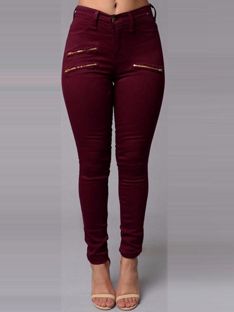 Ericdress Plain Pencil Pants Zipper Skinny Jeans