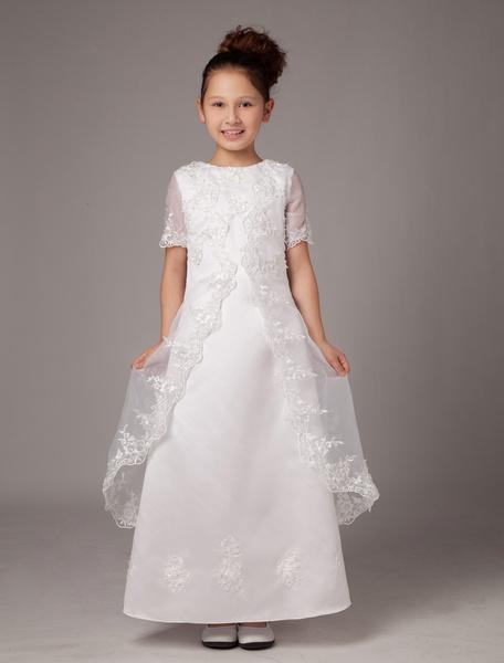 Milanoo Vestidos estilo Bohemia de primera comunion para niñas de saten de color blanco de estilo dulce