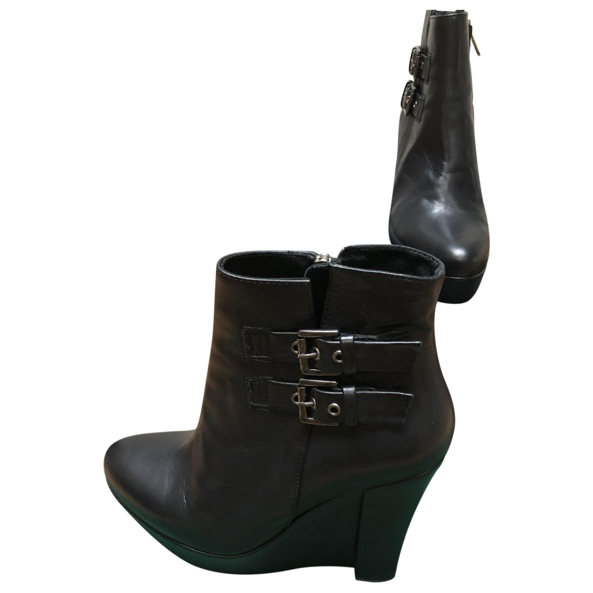 The Kooples \N Black Leather Ankle boots for Women 38 EU