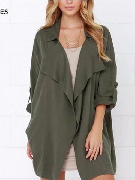 YOINS Army Green Side Pockets Lapel Collar Long Sleeves Coat