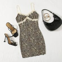 Lace Trim Lettuce Edge Leopard Dress