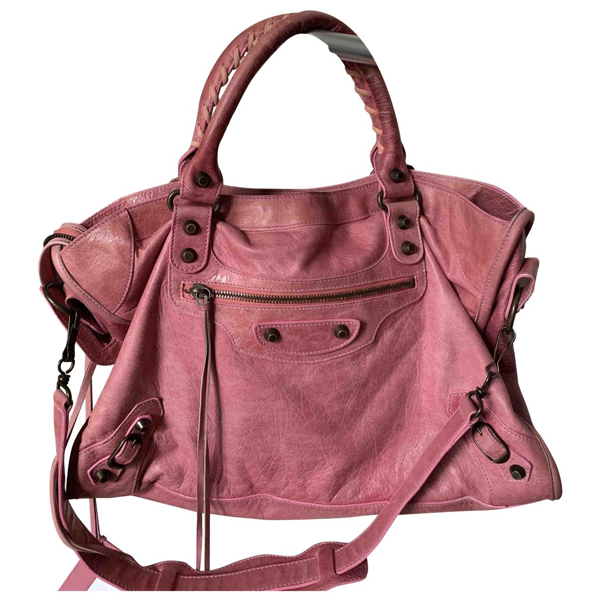 Balenciaga Work Handtasche in  Rosa Leder