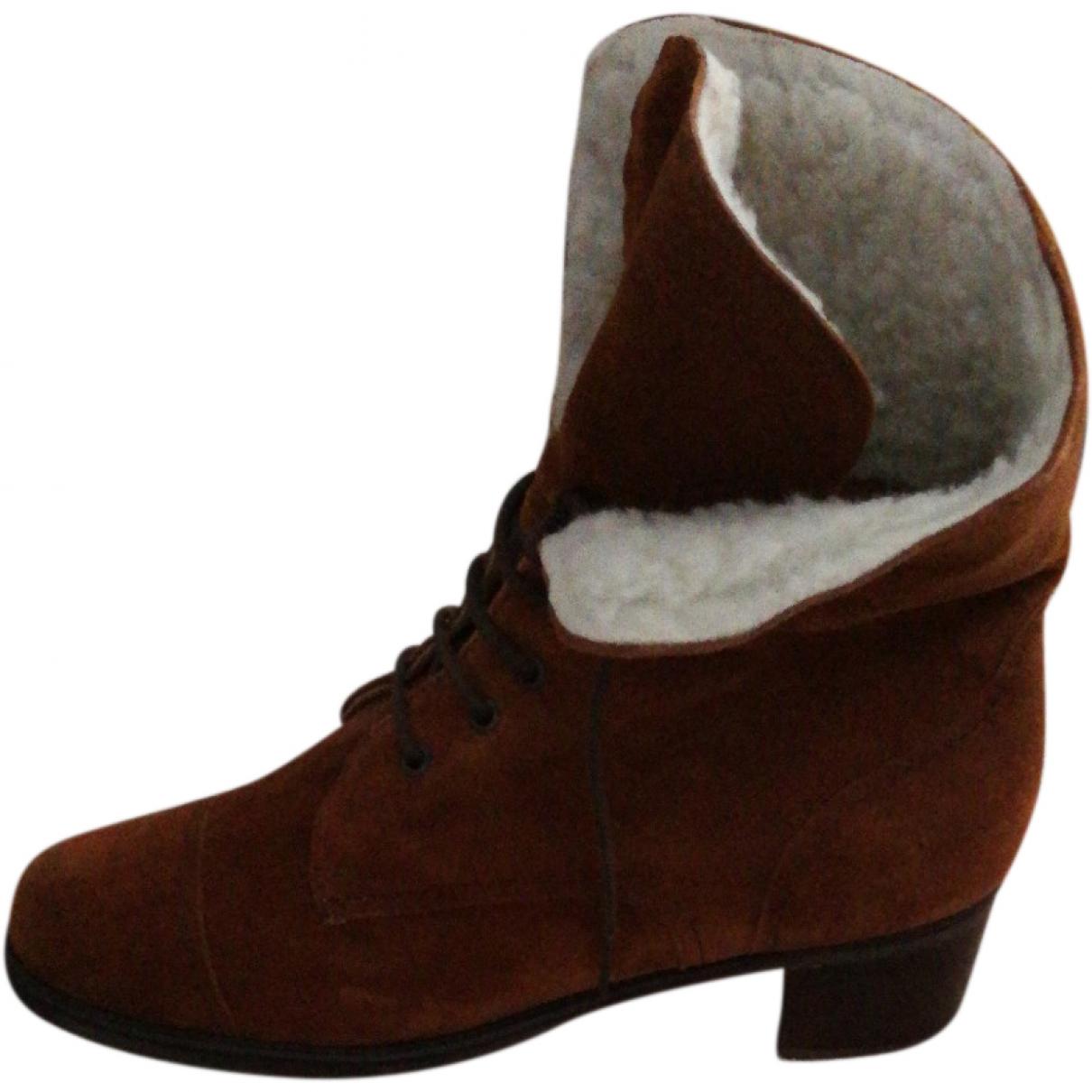 Non Signé / Unsigned \N Brown Velvet Boots for Women 41 EU