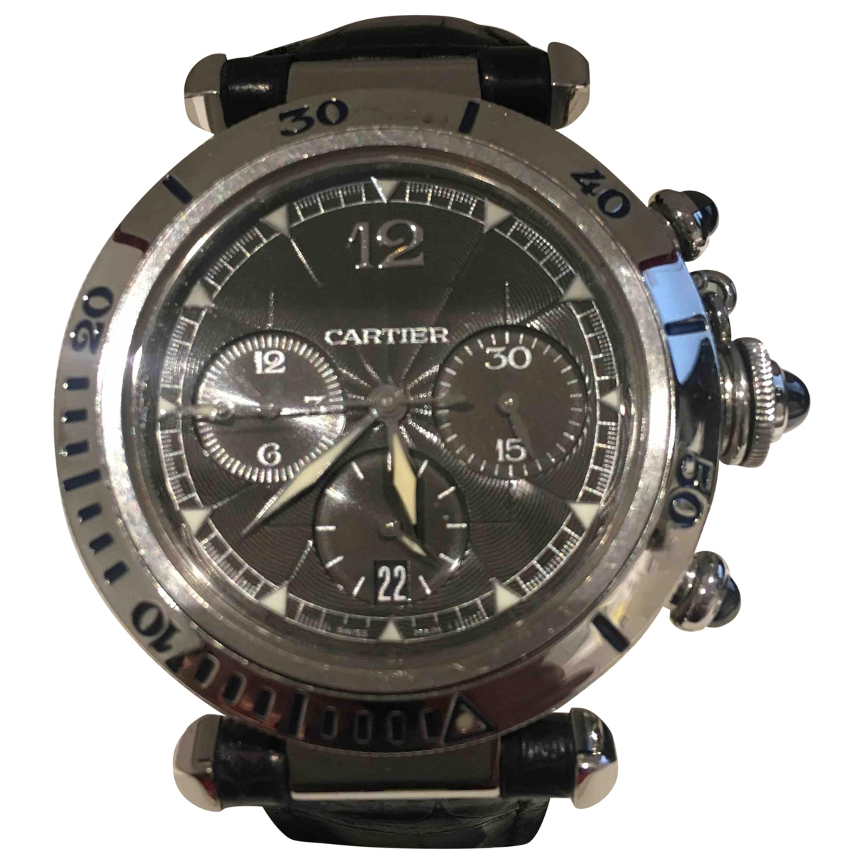 Cartier Pasha Chronographe Silver Steel watch for Men \N