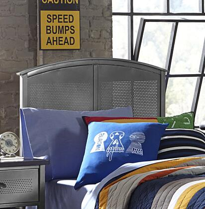 1265HTPR Urban Quarters Twin Size Panel Headboard with Headboard Frame Included  Punched Hole Detailing and Metal Construction in Black Steel