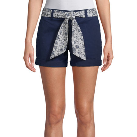 St. John's Bay Womens Mid Rise Chino Short, 16 , Blue