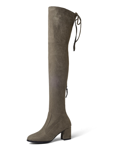 Milanoo Thigh High Boots Womens Elastic Fabric Lace Up Round Toe Chunky Heel Over The Knee Boots